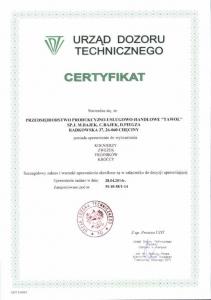 Certyfikat UDT - 2014