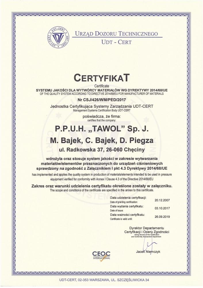 Certyfikat UDT-CERT