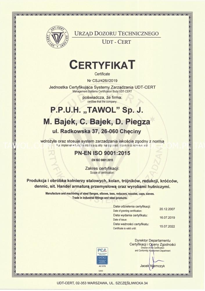 Certyfikat ISO 9001-2015